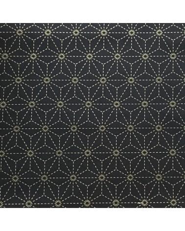 Tissu pré-imprimé Asanoha bleu nuit 50 x 110 cm