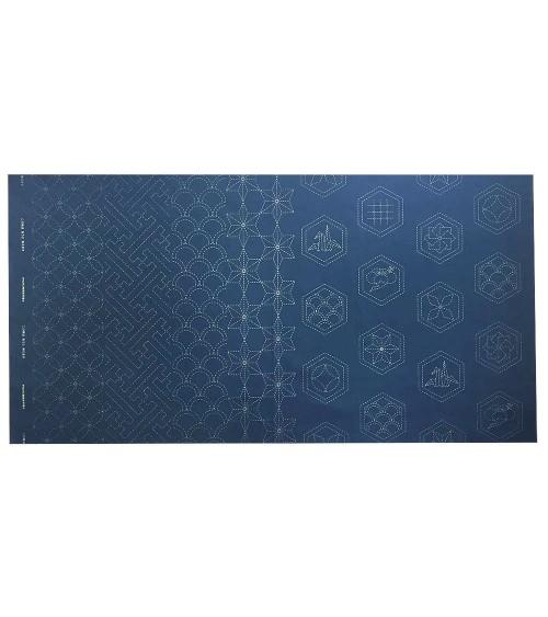 1 tissu style patchwork  bleu foncé