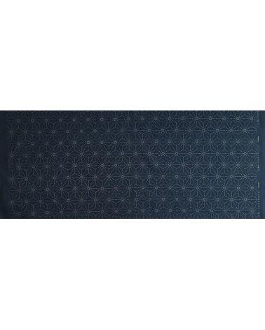 Tissu pré-imprimé Asanoha bleu foncé 50 x 110