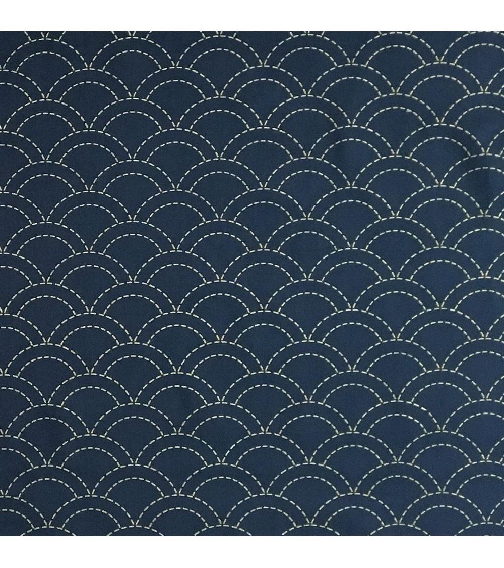 Tissu pré-imprimé Seigaiha bleu foncé 50 x 110