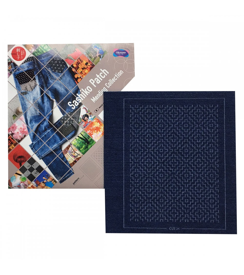 Sashiko patch mending collection - bleu marine chiné