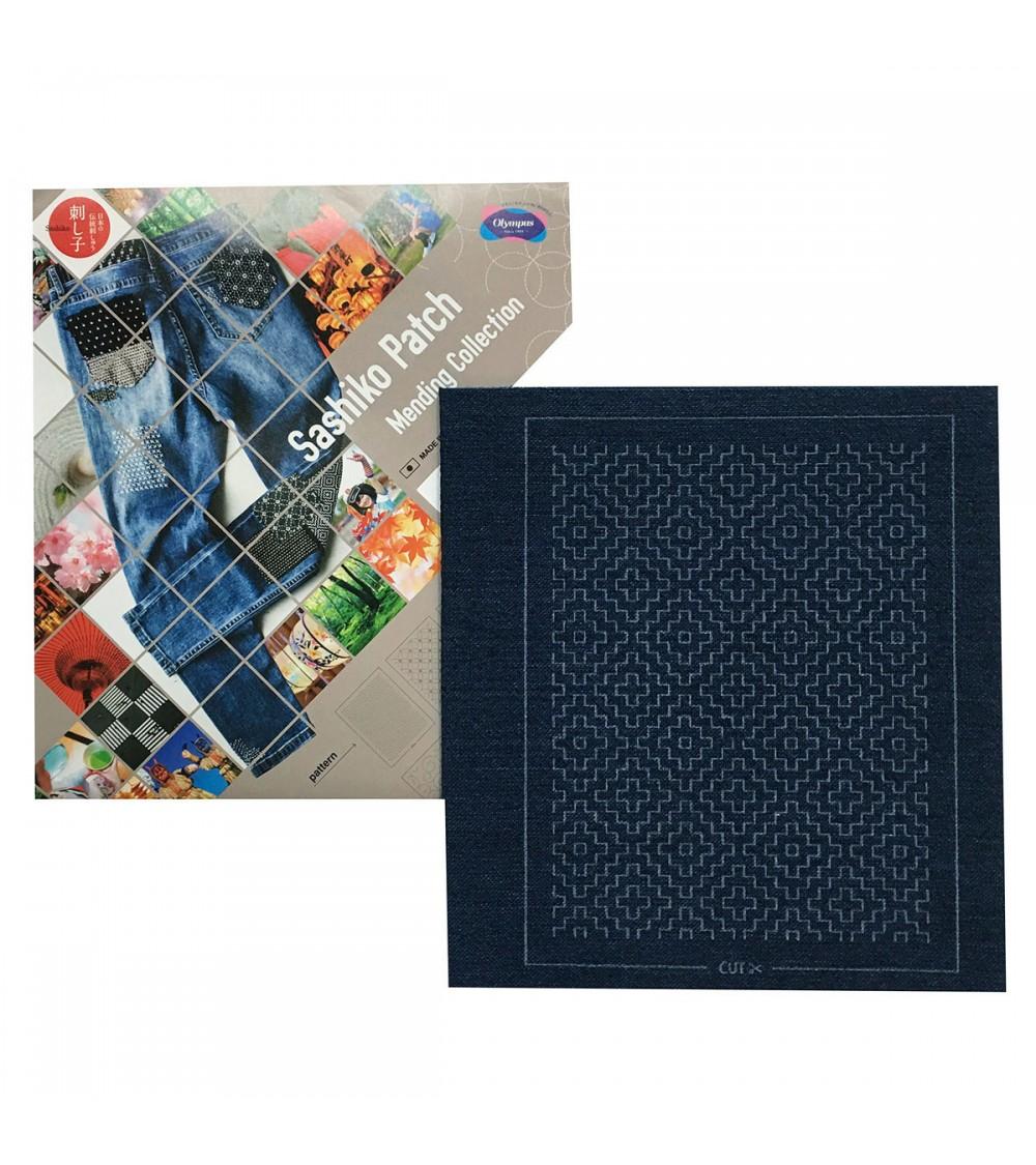 Sashiko patch mending collection -  bleu gris foncé chiné